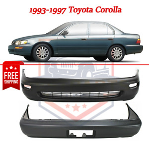 Set Of 2 Front Rear Bumper Covers To1000115 To1100174 93 97 Toyota Corolla