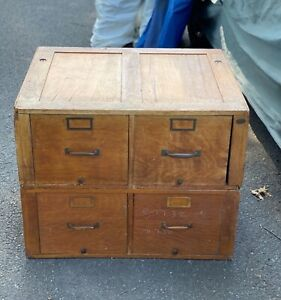 Antique Oak Horizontal Filing Cabinet From The Federal Trade Commision