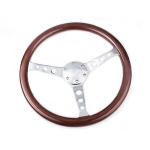 15 380mm Classic Mahogany Wood Grain Brown Steering Wheel With Horn Button