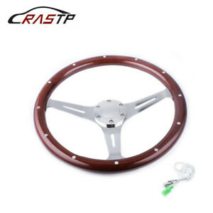 15inch 380mm Classic Steering Wheel Dark Stained Wood Grip With Rivets
