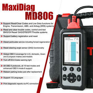 Autel Md806 Obdii Car Auto Diagnostic Scanners Code Reader Dpf Upgrade Md802 Us