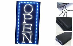 19 inch Vertical Blue White Led Neon Open Sign Led With 2 Light Modes Fixed flas