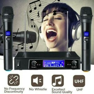 Professional Wireless Microphone System Dual Handheld 2 x Mic Cordless Receiver $33.85