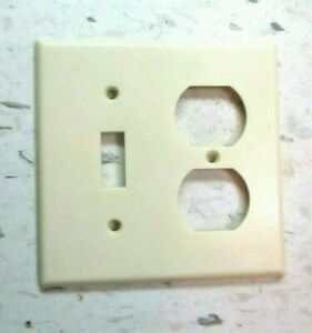 Leviton 2 Gang Combo Switch Outlet Plate Wall Cover Smooth Ivory Bakelite 1 Vtg