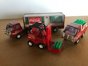 VINTAGE 1980's BUDDY L COCA-COLA TRUCKS with FORKLIFT AND COKE CASES