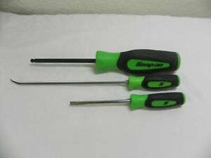 Snap On 3 Piece Driver Set Green Ball Hex Mini Pick Mini Flat Tip Drivers