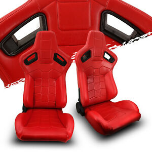Red Strip Pvc Leather Left right Elite Style Sport Racing Bucket Seats Slider