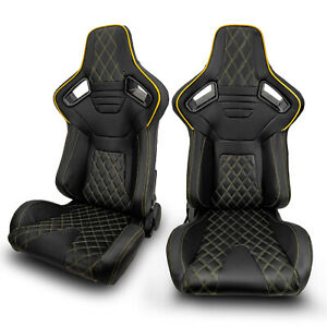 2 X Universal Jdm Black Pvc Leather Yellow Strip Left Right Racing Bucket Seats