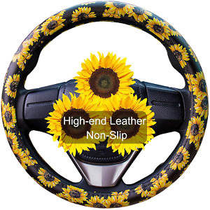 Evankin Sunflower Steering Wheel Cover Cute And Handmade leather Universal Wheel
