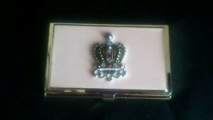 Beautiful Pink W jeweled Crown Business Card Holder Brass Plated