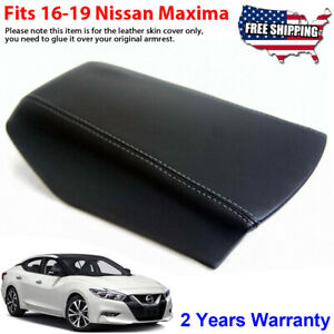 Fits 16 19 Nissan Maxima Black Leather Console Lid Armrest Cover Gray Stitch