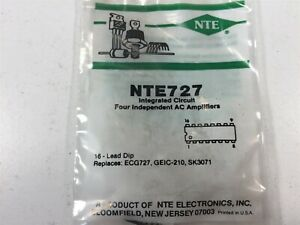 2 Nte Nte727 Integrated Circuit Four Independent Ac Amplifiers Lot Of 2