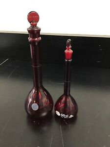 Set Of 2 Kimax Red Glass 50ml Flask Unmarked Volume Flask With Stoppers