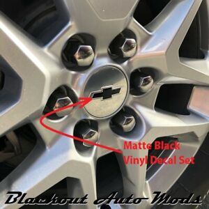 Matte Black Equinox Wheel Center Cap Bowtie Emblem Blackout Decal Set 4 Pcs