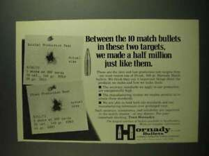 1973 Hornady 30 cal. 168 Gr. Match Bullets Ad These Targets $16.99