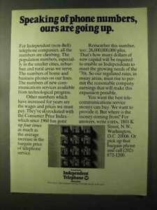 1973 United States Independent Telephone Association Ad - Numbers