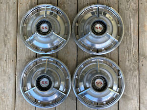 Set Of 4 1963 1964 1965 1966 Impala Ss Spinner Hubcaps 63 64 65 66 Chevy Ii 14
