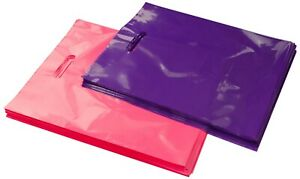 100 12x15 Glossy Pink And Purple Plastic Merchandise Bags W handles