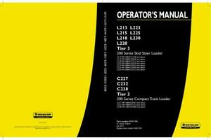 New Holland L213 L223 L215 L225 L218 L230 L220 Tier 3 200 Skid Operators Manual