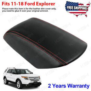 Fits 2011 2018 Ford Explorer Leather Center Console Lid Armrest Cover Red Stitch