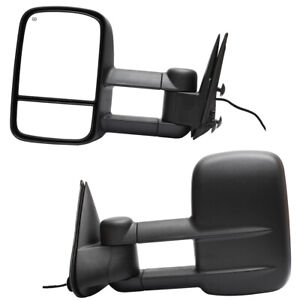 Pair Power Heated Towing Mirrors For 99 02 Silverado Sierra Pickup W 70cm Wire