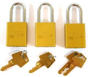 American Lock Yellow Lockout Padlocks Keyed Alike A1106kaylw pack Of 3