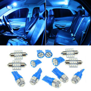 13pcs Led Lights Interior Package Kit Ice Blue Dome Map License Plate Lamp Bulbs