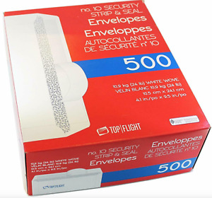 500 Count Top Flight 10 Envelopes Strip Seal Security Tinted White Paper