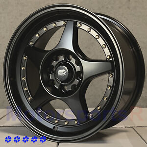 Mst Mt42 15 X7 25 Flat Black Wheels Rims 4x100 89 93 97 98 01 Acura Integra Gsr