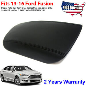 Fits 13 16 Ford Fusion Center Console Armrest Lid Leather Synthetic Cover Black