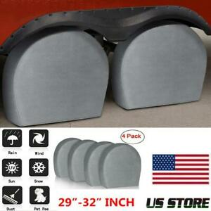 Set Of 4 Tire Covers 29 32 Wheel Tyre Truck Rv Trailer Camper Sun Protector Us