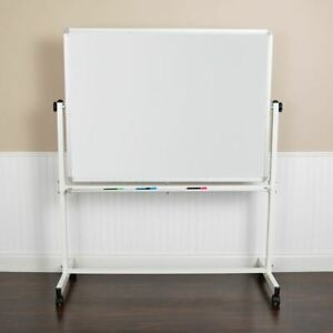 Durable Hercules Series 53 w X 62 5 h Double sided Mobile White Board W pen Tray