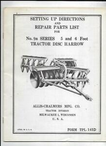 Allis chalmers No 9a Series Disc Harrow Setting Up Directions Manual