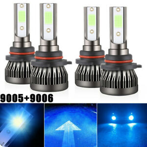 4pc Combo 9005 9006 Led Headlight Bulbs Kit High low Beam 144w 8000k Ice Blue