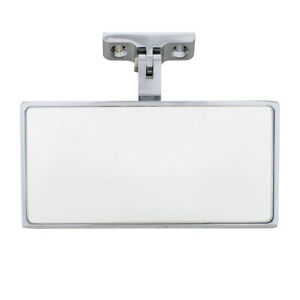 Rectangular Chrome Plated Aluminum Interior Rear View Mirror With Screw On Mount