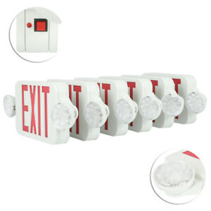 New 6 Pack Emergency Lights Red Exit Sign W dual Led Lamps Residential Hospital