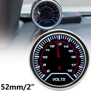 Car Universal Digital Volt Voltmeter Gauge Led Meter Red Pointer 8 18v 52mm 2
