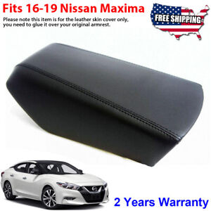 Fits 16 19 Nissan Maxima Leather Center Console Lid Armrest Cover Black