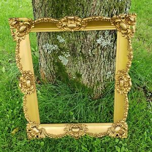 Antique Gold Ornate Scrollwork Rose Swags Picture Painting Frame Fits 16 20