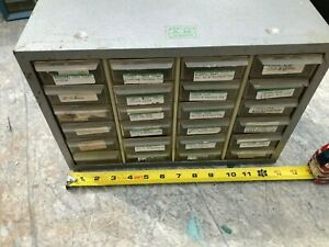 Vintage 24 Drawer Metal Akro Mills Small Parts Storage Organizer Cabinet Bin
