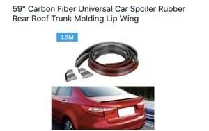 59 Carbon Fiber Universal Car Spoiler Rubber Rear Roof Trunk Molding Lip Wing