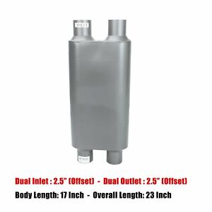 2 5 Inlet Outlet Dual 17 Oval Body Length 2 Chamber Race Exhaust Muffler