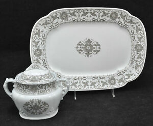 Antique Meakin Brown Creswell 14 Inch Platter And Sugar Bowl