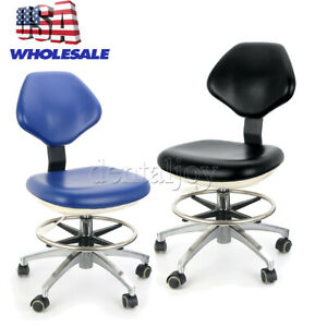 Dental Mobile Chair Dentist Stool Rolling Adjustable Pu Leather Blue black Chair