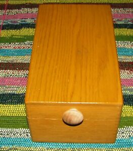 Vintage Wood File Box For Index Cards Metal Insert Dovetailed