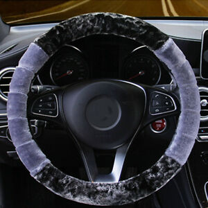 Universal Gray Winter Warm Soft Fuzzy Plush Car Steering Wheel Cover 38cm 15inch