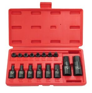 16pc Pro Hex Allen Master Impact Socket Bit Set Cr mo Steel Sae 1 4 3 8 1 2