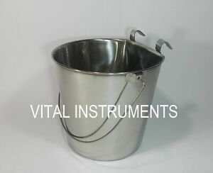 Stainless Steel Bucket Pail Flat Sided 9 Qt Dog Pup Kennel Farm Feed Box Of 12