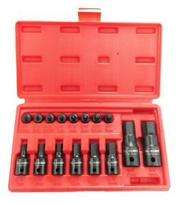 16 Pc Metric Hex Allen Master Impact Socket Bit Set Cr mo Steel 1 4 3 8 1 2 Dr