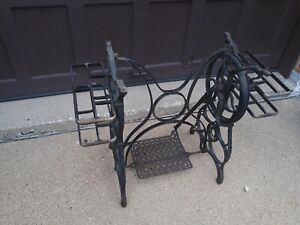 Vintage Standard Brand Cast Iron Treadle Sewing Machine Base Table Legs Stand